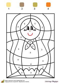 coloriage magique ce1 matriochka à imprimer sur hugolescargot.com