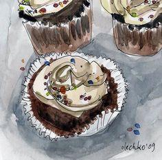 cupcakes watercolor