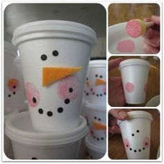 Snowman Cups, Such a fun way to package up treats for the holidays or kids Christimas Parties. Idea from Blue Cricket Design