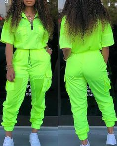 Lovely Stylish V Neck Zipper Design Green Two-piece Pants Set Cute Swag Outfits, Sporty Outfits, Teen Fashion Outfits, Stylish Outfits, Girl Fashion, Girl Outfits, Neon Green Outfits, Designer Tracksuits, Looks Hip Hop