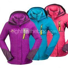 Cikrilan® Women Outdoor Tops/3-in-1 Jackets Waterproof/Windproof/Detachable Winter/Autumn Camping & Hiking/Fishing/Climbing - USD $59.99