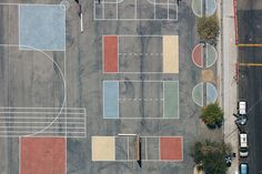 Karl Hab Captures Stunning Views of LA's Tennis and Basketball Courts From Above #inspiration #photography