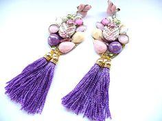 Tassel earrings Fringe Earrings Purple tassel purple by MMGEM