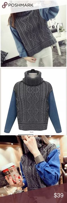"Turtle neck denim sleeve sweaterBoutique Sleeves are denim, turtle neck. Material acrylic. Measurement: length 20.1"" bust 39-40"", shoulder to shoulder: 15.7"", sleeve length 22.5"". NWOT Sweaters Cowl & Turtlenecks"