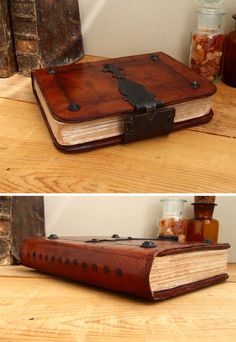 Worn Book Brown Vintage Leather Journal with Iron by TeoStudio
