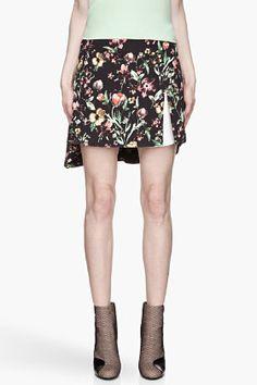 3.1 Phillip Lim Black Faded Multicolor Botanical Layered Flirt Skirt for women | SSENSE
