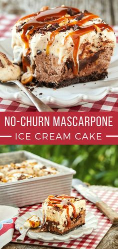 From backyard barbecues to birthday parties, this make-ahead freezer dessert is a fantastic finale to any meal. Ice Cream Cookie Cake Recipe, Ice Cream Cookies, Ice Cream Desserts, Ice Cream Recipes, Just Desserts, Delicious Desserts, Mascarpone Ice Cream, Freezer Desserts, Cake Recipes