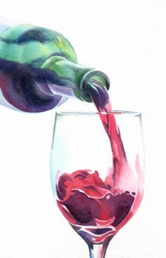 wine painting | RED, RED WINE watercolor painting, original painting by artist Barbara ...