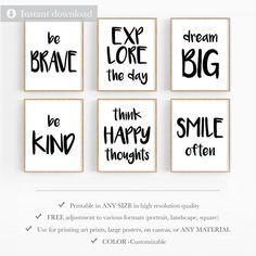 Art Wall Kids, Wall Art Sets, Wall Art Prints, Matching Quotes, Wall Art Quotes, Quote Wall, Quotes White, Black And White Canvas, Printable Designs