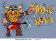 Viking rock star  metal  music brutal illustration