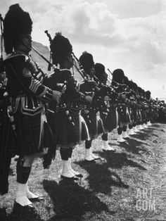 The Glasgow Police Marching and Playing the Bag Pipes.  Hans Wild Premium Photographic Print