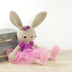 This written crochet pattern includes all the instructions needed to make your own long-legged ballerina bunny.Includes one PDF file, 14 pages.Pattern is writte