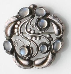 Brooch | Georg Jensen. Sterling silver and moonstone. ca. 1987