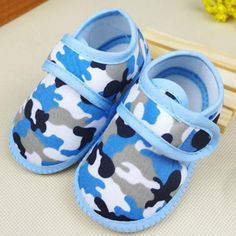 Boy and Girl Camouflage Soft Sole Crib Shoe