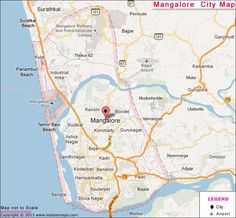 Map of Mangalore Mangalore, Industrial, India, Map, City, Travel, Goa India, Viajes, Location Map