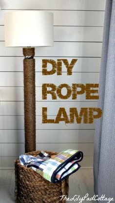 DIY Rope Lamp - made with a pool noodle! www.thelilypadcottage.com