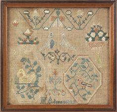 Chester County, Pennsylvania silk on linen sampler, dated 1829, wrought by Hannah Adamson b. 1820, 8'' x 8 1/2''.