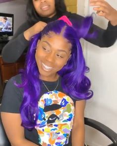 Special Sale -Purple Frontal Wig Virgin Human Hair Wig Straight Purple Style fresh look Pretty Bright and Shiny color How many of You guys like this beauty Just as me Show me ur hands and Drop a Purple Wig, Purple Hair Black Girl, Purple Weave, Looks Halloween, Curly Hair Styles, Natural Hair Styles, Hair Laid, Purple Style, Wig Hairstyles
