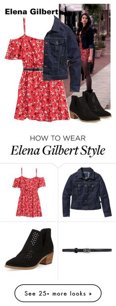 """Elena Gilbert inspired outfit"" by mrs-1d-forever-and-always on Polyvore featuring H&M, Steven by Steve Madden, Gucci and Patagonia"