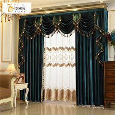 DIHIN HOME Exquisite Solid Green Embroidered Valance,Blackout Curtains Grommet Window Curtain for Living Room Panel Grommet Curtains, Blackout Curtains, Drapes Curtains, Curtain Panels, Curtain Valances, Blue Drapes, Living Room Decor Curtains, Living Room Windows, Windows