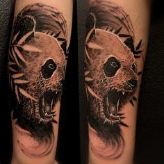 realistic black and grey panda tattoo by Ricardo van 't Hof Panda, Black And Grey, Tattoos, Animals, Tatuajes, Animales, Animaux, Tattoo, Animal