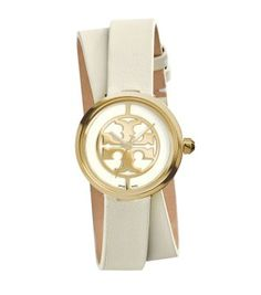 Cute casual/everyday watch!!! Tory Burch Reva Double-wrap Watch, Ivory Leather/gold-tone, 28 Mm