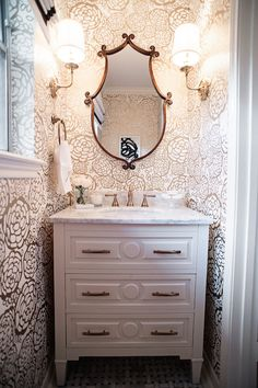 HOUSE of HARPER gold and white powder room reveal.