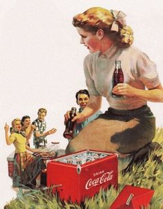 Coca Cola Picnic - 1952 in the good old summertime. Coca Cola Poster, Coca Cola Ad, World Of Coca Cola, Pepsi, Vintage Coke, Vintage Signs, Coke Ad, Old Ads, Vintage Advertisements