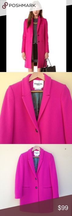 Fuchsia Wool Blend Coat Beautiful wool blend coat by Essential Antwep. Made in Portugal. Size 38. Chest is 40. Length is 35 1/2. Full lining. Two front pockets and two buttons up the front. Center vent in back. Anthropologie Jackets & Coats Pea Coats