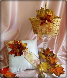 Fall Leaves Flower Girl Basket and Ring Bearer Pillow Set Rustic Fall Wedding Decor.