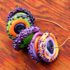 fun and funky lampwork disk beads by Patty Miller