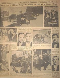 Photo page of Chicago Herald Examiner February 1920s Gangsters, Valentines Day Massacre, Hate Valentines Day, Chicago Outfit, Gangster S, Mafia Families, The Valiant, Al Capone, The St