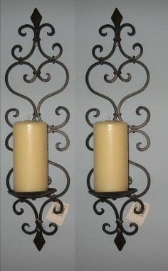 Tuscan Wrought Iron Fleur De Lis Candle Wall Sconce