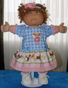 """Cabbage Patch Doll Cloths- Blue and Pink dress-panties- Hair band - fits 16"""""""