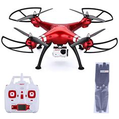 Syma X8HG  RC Quadcopter Drone 24G with 8MP Camera Headless Mode 100M Control Distance Barometer Altitude Hold 2000mAh Battery Red With Floureon Props * Learn more by visiting the image link.