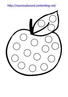 Image du Blog nounoudunord.centerblog.net Preschool Art Activities, Apple Activities, Toddler Learning Activities, Spring Toddler Crafts, Dot To Dot Printables, Autumn Leaves Craft, Early Childhood Activities, Jewish Crafts, Do A Dot