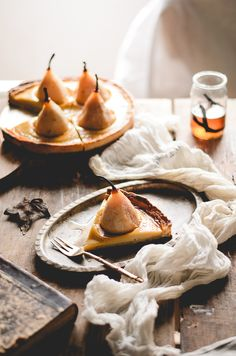 Poached pear custard tart