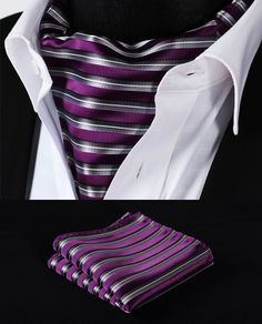 RS201P Purple Gray Stripe Silk Cravat Woven Ascot Tie Pocket Square Handkerchief Suit Set