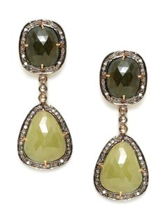 Multicolor Sapphire & Diamond Freeform Drop Earrings by Amrapali on Gilt.com