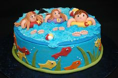 """Cute pool party cake...maybe write """"Happy...."""" and not have the kids in the pool, but maybe a float."""