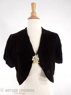 1930s Silk Velvet Jacket - shown with Trifari brooch