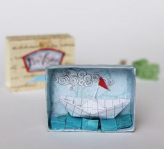 Match box Bon Voyage made with antique paper and by sabiesabi