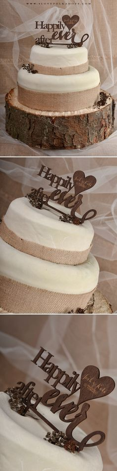 Happily Ever After <3 Wedding Wooden Cake Topper #realwood #woodlandwedding