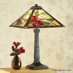 Interiors 1900 Lelani Tiffany Table Lamp: The Lelani Medium Table Lamp has a bold design highlighting vibrant red art glass. Tiffany Stained Glass, Stained Glass Lamps, Leaded Glass, Fused Glass, Tiffany Table Lamps, Hand Painted Pottery, Mason Jar Lamp, Glass Design, Light Decorations