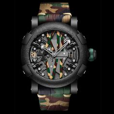 RJ Romain Jerome Steampunk Auto Camo - Self Winding - 42 Hours Power Reserve - Black PVD Coated Steel Case - Satin Brushed Gunmetal Bezel - Limited Edition of 25 Pieces. Diesel Watches For Men, Best Watches For Men, Amazing Watches, Luxury Watches For Men, Beautiful Watches, Sport Watches, Cool Watches, Fine Watches, Men's Watches
