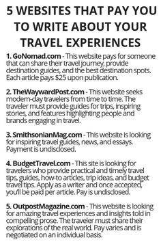 5 Websites That Pay You To Write About Your Travel Experiences Wisdom Lives He Ways To Earn Money, Earn Money From Home, Earn Money Online, Online Jobs, Money Tips, Way To Make Money, Money Fast, Work From Home Opportunities, Work From Home Jobs