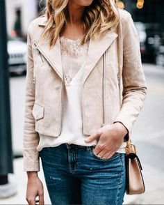 s day casual outfit, blush suede moto jacket, Blush Outfit, Beige Outfit, Black Jeans Outfit, Suede Moto Jacket, Leather Jacket Outfits, Cool Outfits, Fashion Outfits, Fashion Capsule, Fashion Jackson