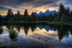 ~ Sunset At Schwabacher Landing ~ Photo by: Tom Lussier Location: Grand Teton NP, WY Teton Mountains, Natural World, Wyoming, Landscape Photography, Cool Photos, Beautiful Places, Community, Landing, Explore
