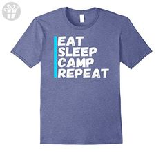Mens Funny Eat Sleep Camp Repeat-  Champing T-Shirt Medium Heather Blue - Funny shirts (*Amazon Partner-Link)