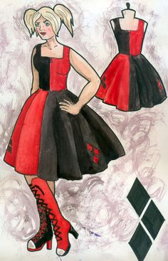 harley quinn costume sketch - Google Search